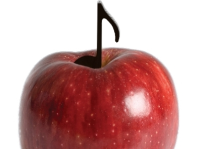 Image of an apple and a note