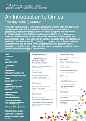 Image of the front page of the introduction to omics training course