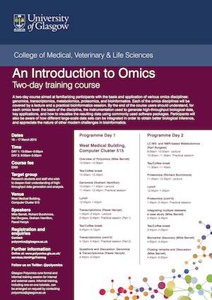 Image of the front page of the introduction to omics training course for December