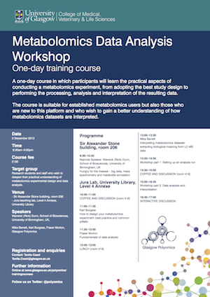 Image of the front page of the metabolomics data analysis course