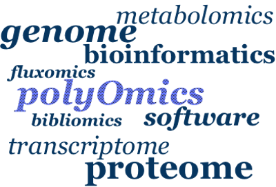 Diagram showing a word cloud describing the range of polyomics services on offer