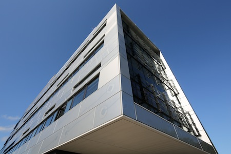 Photograph of the Wolfson Wohl Cancer Research Centre building